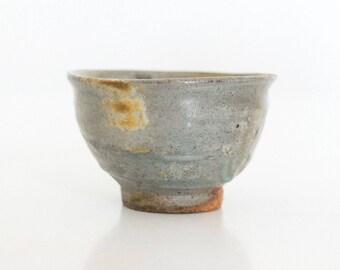 Guinomi, handmade ceramic pottery, shot glass for sake, liquor, or alcohol. Woodfired Tenmoku glaze.