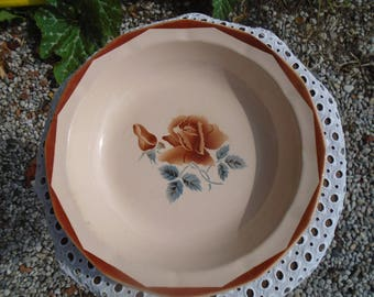 Dish Digoin - Sarreguemines - off white and pink pattern - serving dish - 40s