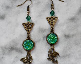 earrings dragons 3d triquetra celtic knot stone druzy green faux animal fantasy pagan wicca forest magical mythical creature game of thrones