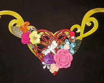 Spring in our hearts mixed media necklace