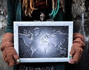 Black white wall decor World Map decoupage picture 3-D effect rain drops No glass Gift  decor office 3-d water drops art Wall Rainy Weather