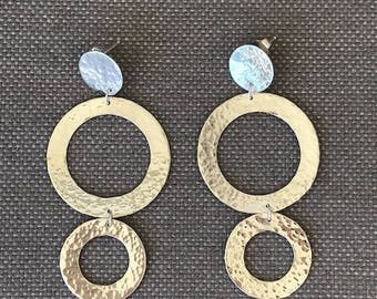Sterling Silver Trio Dangle Hoops with Hammered Finish