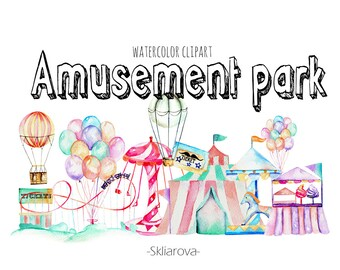 Fun park watercolor clipart Amusement park watercolor Digital fun attraction Carousel illustration Carnival clipart Handpaint entertainment