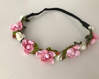 Flower headband, wedding headband, flower girl headband, elastic headband, women headband