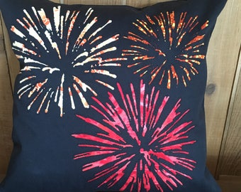 Fireworks Pillow Cover, 4th of July throw pillow, New year's decor, Firecracker, Independence Day decor, Black, Red and Orange,