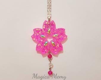 Sakura cherry blossom necklace handmade resin