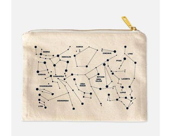 Constellation Cosmetic Bag, Stars Makeup Bag, Space Make Up Bag, Cotton Canvas Cosmetic Bag, Galaxy Makeup Bag, Nerdy Makeup Bag, 9.5 x 7