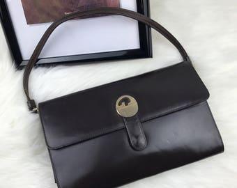 GUCCI Vintage Brown Leather Clutch Envelope Sleek Handbag