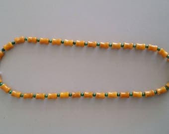 Yellow Jade with Malachite Necklace