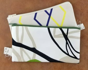 Geometric Pencil Pouch - Small Zipper Bag - Zipper Pouch - Cosmetic Bag - Pencil Case - Purse Organizer - Makeup Bag - Small Reusable Bags