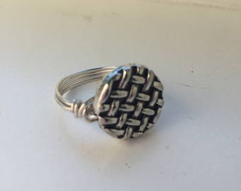 Silver and black basketweave disc ring