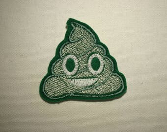 Green Poop Emoji ~ Embroidered Iron-on Sew-on Patch