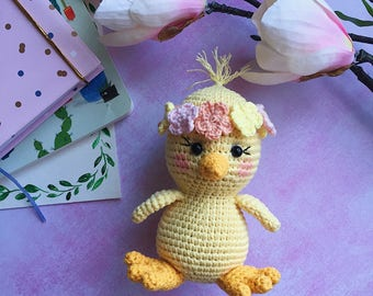Crochet chick toy/Stuffed chick/Easter/Easter toy/Plushie/Nursery decor/Amigurumi animals/Stuffed animals/Newborn toys/Chick toy/Crochet toy