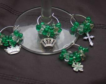 Set of 4 Irish Themed Wine Glass Charms