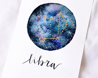 Galaxy/starsign A5 handpainted piece