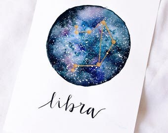 Galaxy constellation starsign print A5