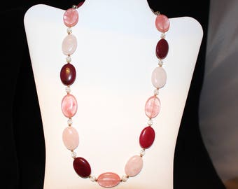 pale pink,cherry and dark red quartz necklace