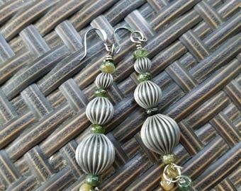 Gunmetal and tourmaline  earrings