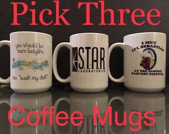 Pick Three Coffee Mugs