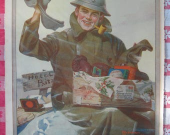 1920– Norman Rockwell's  U.S. soldier  from Leslie's Photographic Review of The Great War (WW I), Vintage, Rare Account of World War I