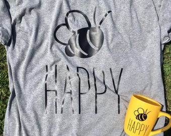Bee Happy Shirt | Casual Shirt - Bee - Bee Shirt - Happy Shirt - Be Happy Shirt