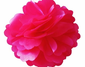 2 Hot Pink Rose Flower Baby Girl Hair Clips Brooches 1 Pair