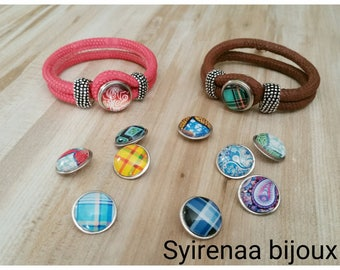 Leather with interchangeable snap bracelets