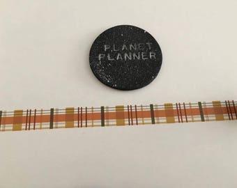 Autumn Washi Tape, Plaid Washi, Tartan Washi, Fall Washi, Chequered Washi Tape, Striped Washi Tape, Orange Washi Tape, Fall Colour Washi.