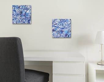 """8"""" x 8"""" abstract minis 'frost' drip art squares - step up your home decor with original small paintings"""