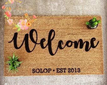 Custom Family Door Mat, Wedding gift, Housewarming gift, Home Decor Welcome Mat