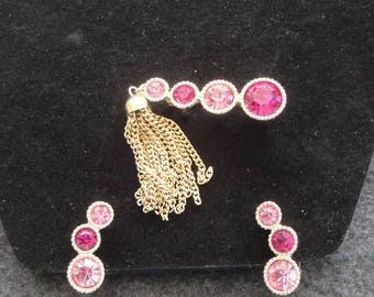 """Sarah Coventry Gold/Pink """"Saucy"""" Brooch / Pin and Clip On Earrings Set --      #18"""