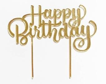 Happy Birthday gold mirrored acrylic cake topper