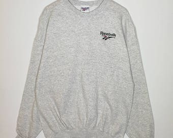 Rare!! Vintage 90s Reebok Sweatshirt Embroidered Logo Activewear Size Large Made in USA Very Good Condition