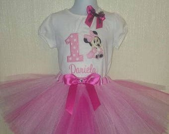 Personalized Birthday Minnie Mouse Shirt and Tutu