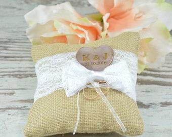 Wedding Ring Pillow Wedding Ring Box Ring Pillow Bearer - Rustic chic Pillow, Beach Shabby chic Wedding, White