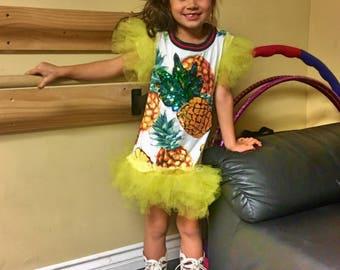 Tutu dress/ Short bright dress with pineapple/ Short beautiful dress/ Yellow dress/