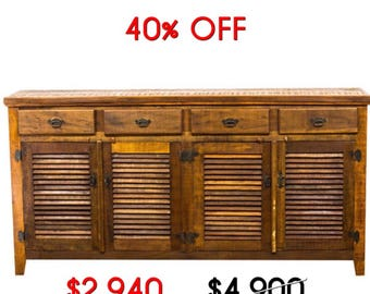 Handmade Antique Vintage Reclaimed Solid Wood Buffet Credenza Moving Sale 40% Off