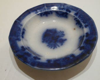 ONE 1820's Flow Blue Antique Dish Saucer Bavarian Mark  Used for Drinking Coffee