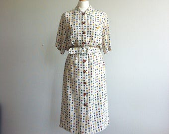 1980 button up summer silk dress floral print