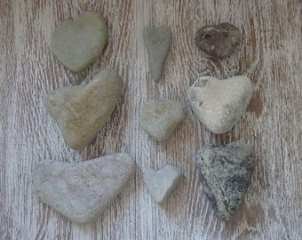 9 Heart pebbles/Sea Stones Heart/Beach Heart Rocks/Natural Heart Rocks/Heart Stones/Heart Shaped Rocks/Wild Harvest/Heart Shape Pebbles
