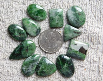 Lot ! Top quality Chrome Diopside Gemstone Excellent cabochons loose gemstone handmade smooth polish 100%Natural 187cts, 11pieses.