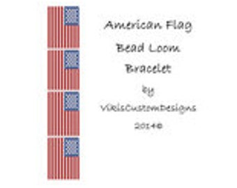 American Flag Bead Loom Bracelet Pattern by VikisCustomDesigns