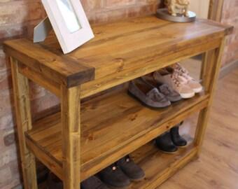 Bespoke Rustic Handmade Industrial Handmade Solid Pine Console Table/Sofa Table / Shoe Rack