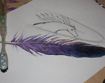 Cosmic horse motif hand painted goose feather