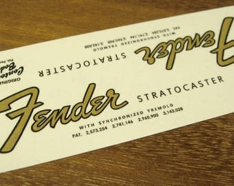 Fender Stratocaster Headstock Decal Set for Mid 60's Strat Waterslide Decals Vintage Guitar Parts
