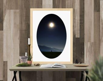 Moon Print, Luna Print, Digital Prints, Mountain Print, Moon Print Art, Moonlight Print, Sky Print, Night Sky Print, Instant Download