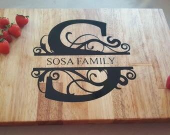 Engraved Natural Wooden Cutting Board Mapel  Wood handmade Butcher Block