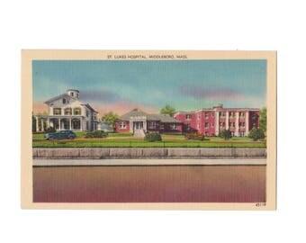 MASSACHUSETTS: St. Luke's Hospital, Middleboro, Vintage Linen Postcard, 1940s
