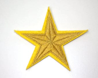 Yellow Star Iron on Patch, Yellow Star Applique Embroidered Iron on Patch (70mm)