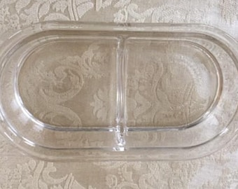 Vintage Pyrex Divided Relish Dish 2 Cup Clear